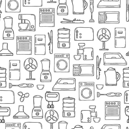 orden y limpieza: Fondo inconsútil con los objetos dibujados a mano estilo de esquema de dibujos animados sobre electrodomésticos tema: nevera, cafetera, microondas, vapor, batidora, plancha, estufa. Cuidado de la casa y concepto de servicio de limpieza para su diseño
