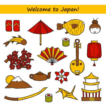 consept: Set of icons in hand drawn style on Japan theme: geisha, sword, sushi, sakura, lantern, origami. Travel japanese consept for your design Illustration