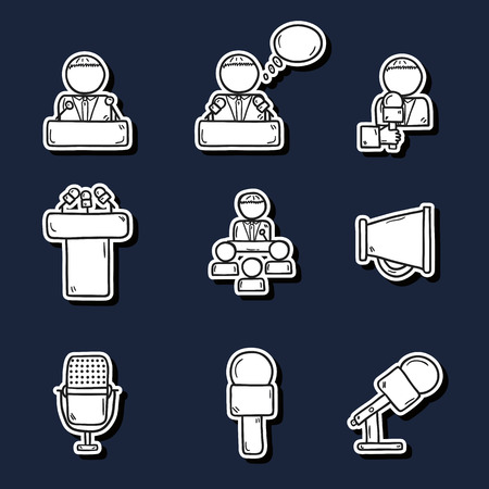 public speaking: Set of cute hand drawn stickers on public speaking theme with people, microphones, speakers, tribunes for business presentation, seminar or conference for your design