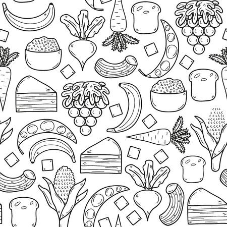 zanahoria caricatura: Fondo inconsútil con los productos prohibidos en la dieta paleo en la mano dibujado estilo de esquema de dibujos animados: maíz, torta, arroz, zanahoria, pan, frijol, azúcar. Concepto de alimentos saludables para su diseño