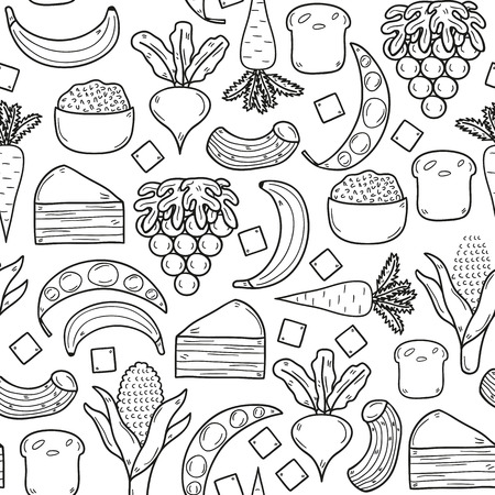 rice and beans: Seamless background with products prohibited during paleo diet in hand drawn cartoon outline style: corn, cake, rice, carrot, bread, bean, sugar. Healthy food concept for your design
