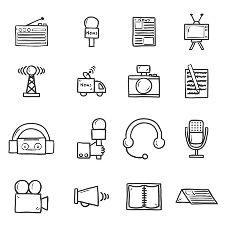 article: Set of objects in hand drawn catroon style on journalism theme: newspaper, tv, antenna, microphone, camera, van. Mass media concept fot your design