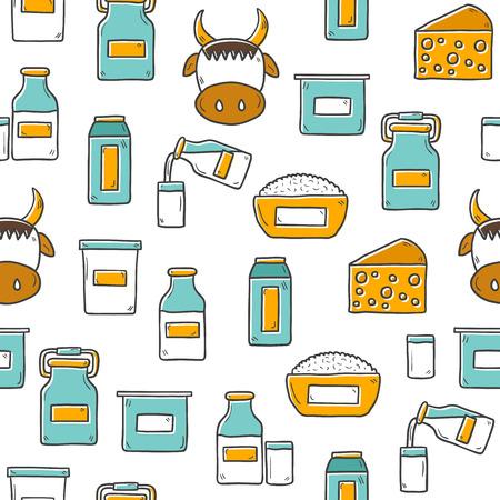 intolerancia: Lindo mano sin fisuras elaborado fondo con productos que contienen lactosa esquema: botella de leche, vidrio, queso, reques�n, crema, yogur, vaca. Usted puede utilizarlo para su comida fresca, intolerancia a la lactosa, dise�o vegana