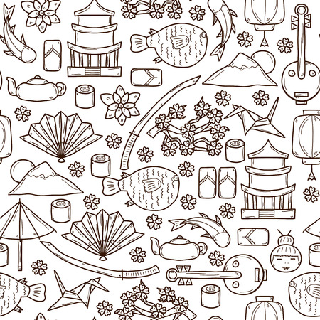sunfish: Seamless background with objects in hand drawn outline style on Japan theme: geisha, sword, sushi, sakura, lantern, origami. Travel japanese consept for your design