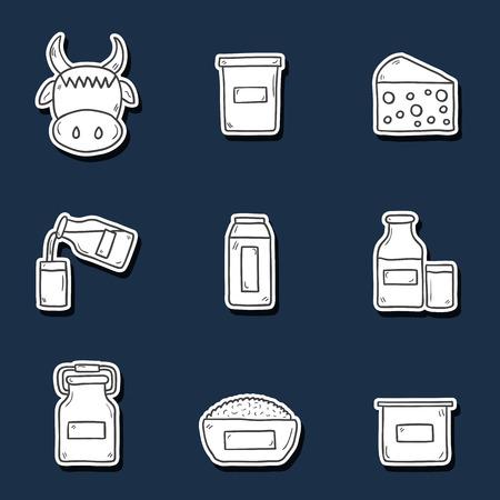 intolerance: Conjunto de etiquetas engomadas lindas del dibujados a mano con productos que contienen lactosa: botella de leche, vidrio, queso, reques�n, crema, yogur, vaca. Usted puede utilizarlo para su dise�o leche fresca y la intolerancia a la lactosa o el dise�o vegana