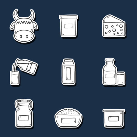 twarożek: Set of cute hand drawn stickers with products containing lactose: milk bottle, glass, cheese, cottage, cream, yogurt, cow. You can use it for your fresh milk design and lactose intolerance or vegan design Ilustracja