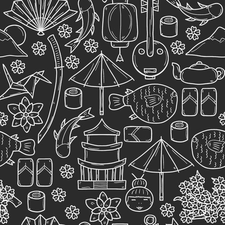 Seamless background with objects in hand drawn outline style on Japan theme: geisha, sword, sushi, sakura, lantern, origami. Travel japanese consept for your design