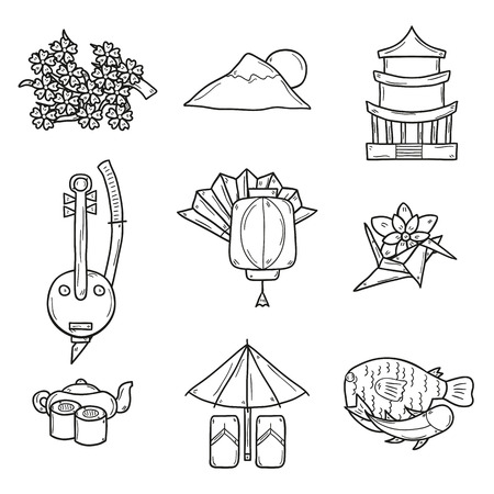 Set of icons in hand drawn outline style on Japan theme: geisha, sword, sushi, sakura, lantern, origami. Travel japanese consept for your design
