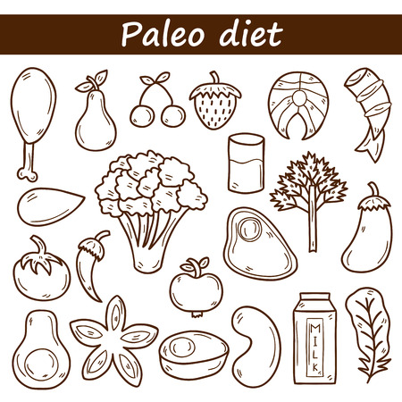 Set of objects in hand drawn outline style on paleo diet theme: meat, fish, fruits, vegetables, spices, nuts. Healthy food concept for your design