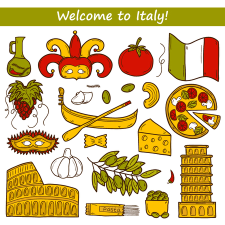 pizza place: Set of cartoon objects in hand drawn style on Italy theme: gondla, food, mask, pisa, coliseum, olive oil,  travel concept for your design