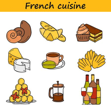 french cuisine: Set of cartoon cute icons on french cuisine theme: cheese, wine, macaroon, croissant, pastry. Ethnic travel concept. Great for restaurant menu or food site