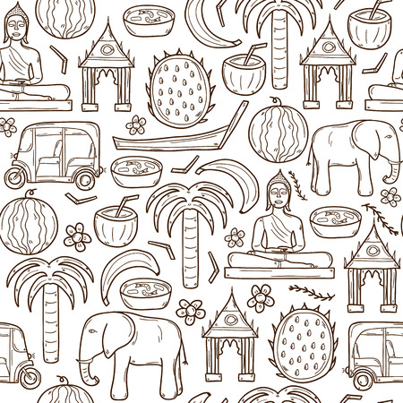 thailand food: Seamless background with cartoon outline objects  on Thailand theme: taxi, buddha, flag, fruits, elephant, palm.  asia travel concept  for your design Illustration
