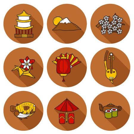 consept: Set of icons in cartoon style on Japan theme: geisha, sword, sushi, sakura, lantern, origami. Travel japanese consept for your design Illustration