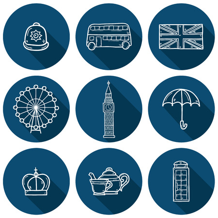 red telephone box: Set of cute  outline cartoon objects on London theme: queen crown, red bus, big ben, umbrella, london eye, telephone box. Travel concept for site, card
