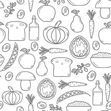 Modern seamless  background with objects in cute cartoon  style on vegan food theme: fruit, vegetable, mushroom, soy, bean, oil, nut, bread, rice. Raw healthy food or vegan concept. Great for vegan site, app, organic market or shop and emblem