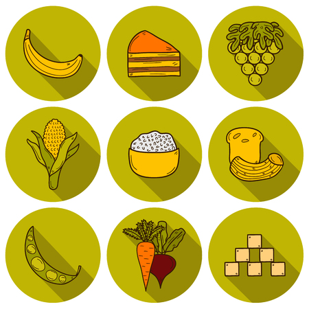 rice and beans: Set of products prohibited during paleo diet in  cartoon style: corn, cake, rice, carrot, bread, bean, sugar. Healthy food concept for your design