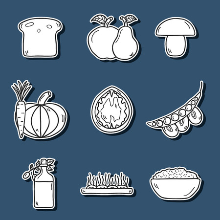 celiac: Set of modern stickers in  style on vegan food theme: fruit, vegetable, mushroom, soy, bean, oil, nut, bread, rice. Raw healthy food or vegan concept. Great for vegan site, app, organic market or shop and emblem Illustration
