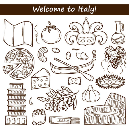 pizza place: Set of cartoon objects in hand drawn outline style on Italy theme: gondla, food, mask, pisa, coliseum, olive oil, Vector travel concept for your design