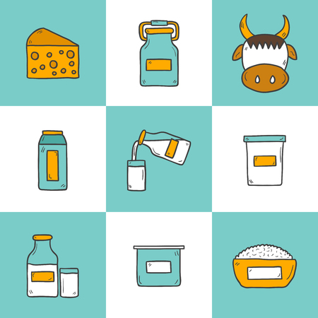 twarożek: Set of cute hand drawn cartoon icons with products containing lactose: milk bottle, glass, cheese, cottage, cream, yogurt, cow. You can use it in fresh milk, lactose intolerance, vegan design