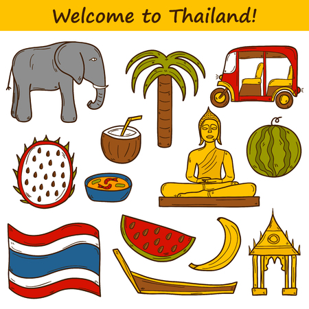 thai elephant: Set of cartoon objects in hand drawn style on Thailand theme: taxi, buddha, flag, fruits, elephant, palm. Vector asia travel concept for your design Illustration