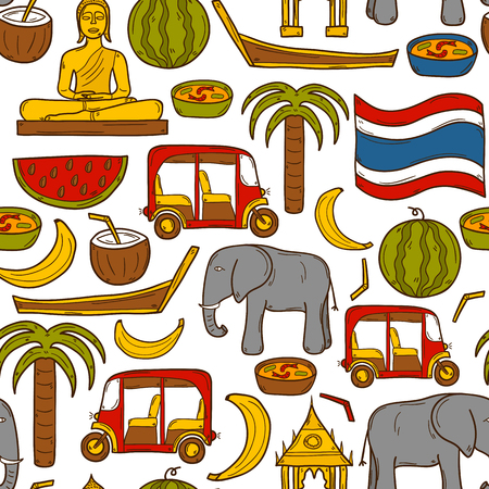 thailand temple: Seamless background with cartoon objects in hand drawn style on Thailand theme: taxi, buddha, flag, fruits, elephant, palm. Vector asia travel concept for your design Illustration