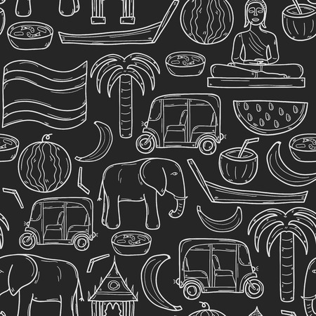 watermelon boat: Seamless background with cartoon outline objects in hand drawn style on Thailand theme: taxi, buddha, flag, fruits, elephant, palm. Vector asia travel concept  for your design Illustration