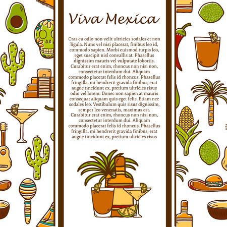 havana cigar: Vector travel concept with hand drawn objects and cuban seamless background on Cuba or Latin America theme: rum, coctail, sugar cane, coffee, guitar, cigar for your design Illustration