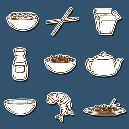 dumpling: Set of cute modern hand drawn cartoon stickers on chinese food theme: rice, teapot, chinese pasta, soy sause, soup, chinese sticks, chinese dumpling, shrimp. Vector ethnic chinese cuisine concept. You can use it for your site, restaurant menu, card or boo Illustration