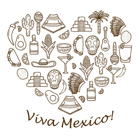 food and drink: Vector background with cute hand drawn objects in heart shape on Mexica theme: sombrero, poncho, tequila, coctails, taco, skull, guitar, pyramid, avocado, lemon, chilli pepper, cactus, injun hat, palm. Travel concept. National mexican objects in vector. Y
