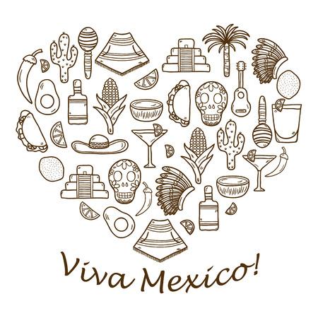 alimentos y bebidas: Vector de fondo con la mano objetos lindos dibujados en forma de coraz�n sobre mexicas tema: sombrero, poncho, tequila, cocteles, tacos, cr�neo, guitarra, pir�mide, aguacate, lim�n, pimienta de chile, cactus, sombrero injun, palma. Concepto del recorrido. Mexicano objetos Nacionales de vector. Y