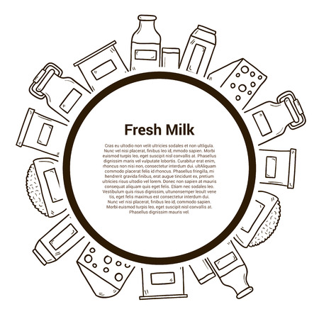 twarożek: Milk products vector concept with hand drawn objects and copyspace. Lactose diet and fresh natural milk template. Set of modern hand drawn objects with products containing lactose: milk bottle, glass, cheese, cottage, cream, yogurt. Great for healthy maga