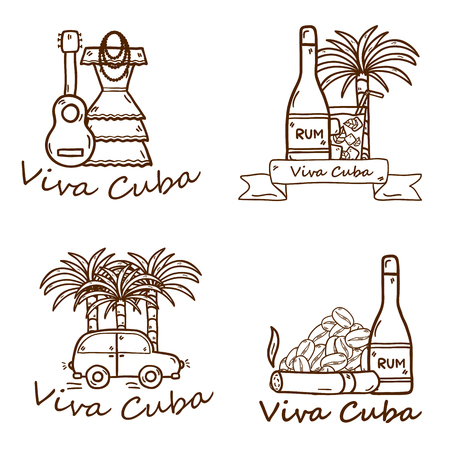 Set of cute hand drawn colorful badges on Cuba theme with rum, coctail Cuba Libre, old car, sugar cane, coffee, guitar, cigar, national womans dress for your cuban design