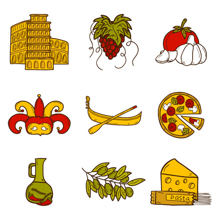 pizza place: Set of cartoon objects in hand drawn style on Italy theme: gondla, food, mask, pisa, coliseum, olive oil, Vector travel concept for your design Illustration