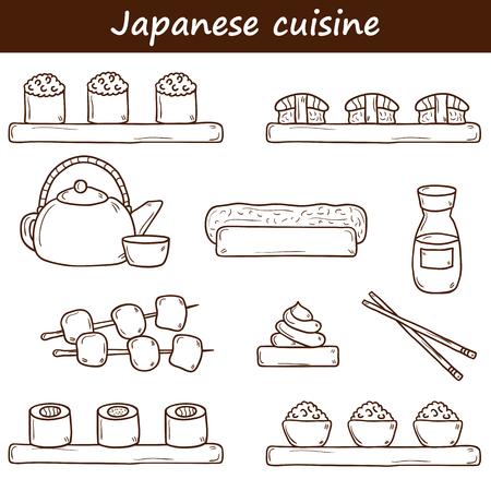 wasabi: Set of cute cartoon hand drawn icons on japanese cuisine theme: tea pot, rolls, sushi, wasabi, caviar. Ethnic travel concept. Great for restaurant menu, food site