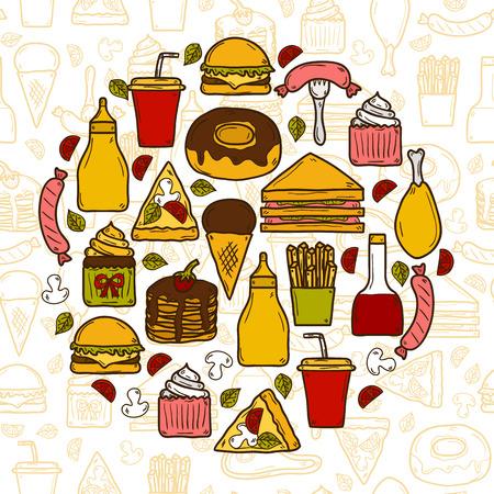 comida americana: Ilustraci�n vectorial con objetos en americano tema de los alimentos en forma de c�rculo y de fondo sin fisuras: patata frita, perro caliente, soda, hamburguesa, s�ndwich. Cocina �tnica y el concepto de viaje para su dise�o