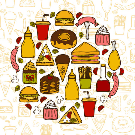 american cuisine: Vector illustration with objects on american food theme in circle shape and seamless background: fried potato, hot dog, soda, hamburger, sandwich. Ethnic cuisine and travel concept for your design