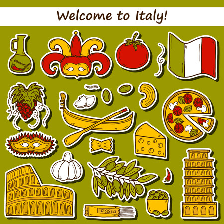 pizza place: Set of cartoon stickers in hand drawn style on Italy theme: gondla, food, mask, pisa, coliseum, olive oil, Vector travel concept for your design Illustration
