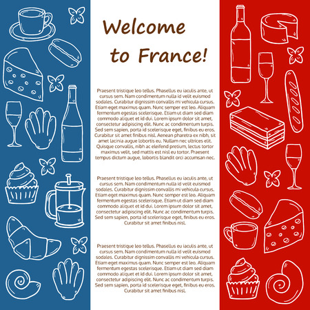 french cuisine: Vector Europe France travel concept with cartoon hand drawn objects on french cuisine theme: cheese, wine, macaroon, criossant, pastry. Ethnic food concept. Great for restaurant menu or food site Illustration