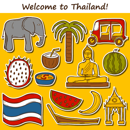 thailand food: Set of cartoon stickers in hand drawn style on Thailand theme: taxi, buddha, flag, fruits, elephant, palm. Vector asia travel concept for your design