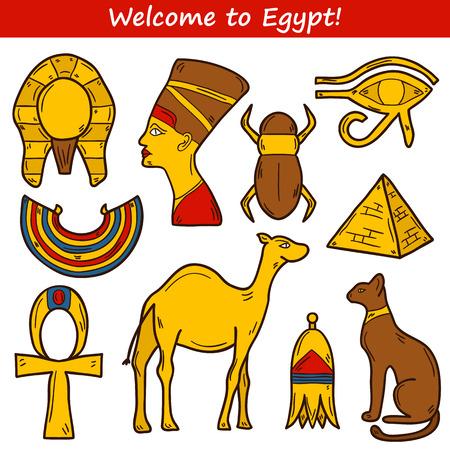 scarabeo: Set di icone dei cartoni animati in stile disegnato a mano sull'Egitto tema: Pharaon, Nefertiti, cammello, piramide, scarabeo, gatto, occhio. Concetto di viaggio in Africa per la progettazione Vettoriali
