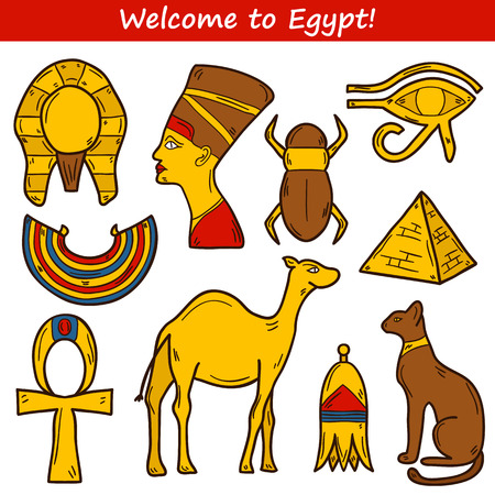 cleopatra: Set of cartoon icons in hand drawn style on Egypt theme: pharaon, nefertiti, camel, pyramid, scarab, cat, eye. Africa travel concept for your design