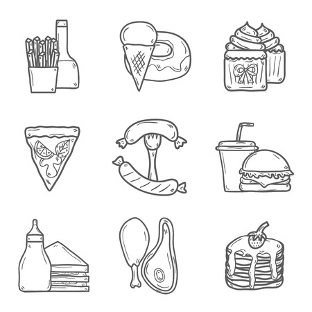 comida americana: Conjunto de objetos de dibujos animados sobre americano tema de los alimentos: papas fritas, hot dog, soda, hamburguesa, s�ndwich. Cocina �tnica y el concepto de viaje para su dise�o Vectores