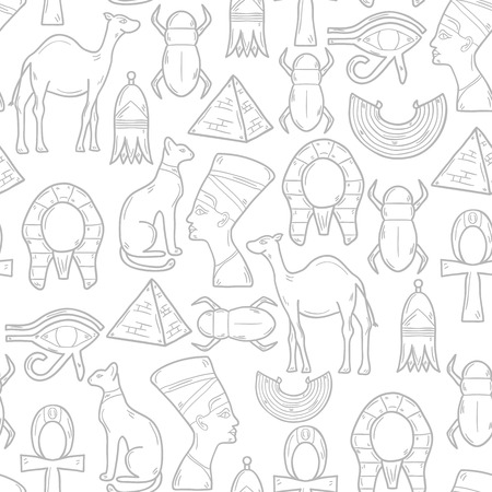 scarab: Seamless background with cartoon objects in hand drawn style on Egypt theme: pharaon, nefertiti, camel, pyramid, scarab, cat, eye. Africa travel concept for your design Illustration