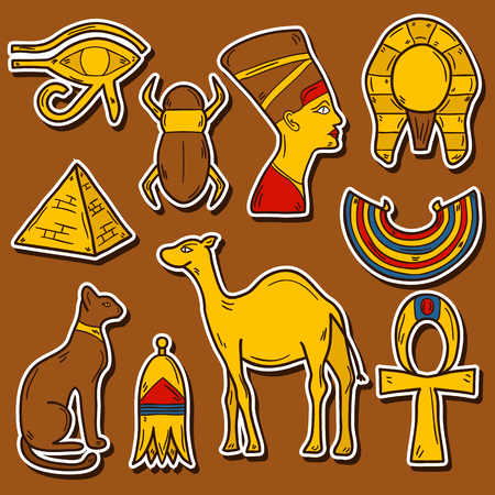 nile: Set of cartoon stickers in hand drawn style on Egypt theme: pharaon, nefertiti, camel, pyramid, scarab, cat, eye. Africa travel concept for your design Illustration