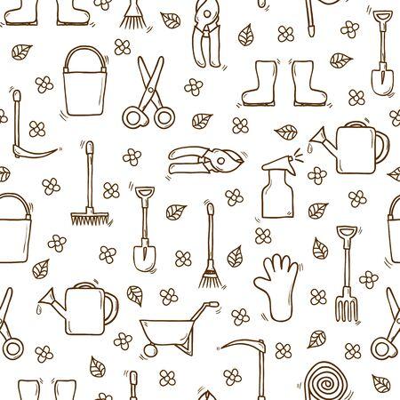 carretilla de mano: Backgound inconsútil con los objetos dibujados a mano de dibujos animados sobre el tema del jardín. Concepto al aire libre con objetos herramientas: regadera, guantes, cortador, pitchfork, pala, botas, rastrillo, tijeras de podar, carretilla de mano, cubo, manguera, pulverizador para su diseño
