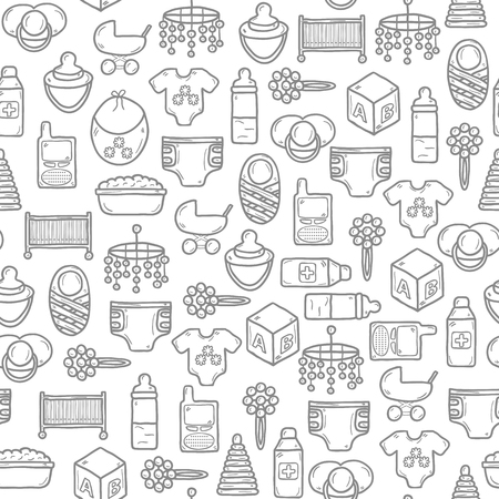 Seamless background with objects in hand drawn style on baby care theme: nipple, rattle, block, carriage, bed, diaper for your design