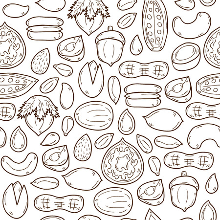 Sealess background with cartoon hand drawn objects on nuts theme: hazelnut, pumpkin and sunflower seeds, peanut, pecan, pistachio, cashew, walnut, acorn, almond, coconut, cocoa. Raw healthy food concept for your design