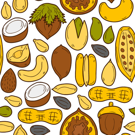 pistachio: Sealess background with cartoon hand drawn objects on nuts theme: hazelnut, pumpkin and sunflower seeds, peanut, pecan, pistachio, cashew, walnut, acorn, almond, coconut, cocoa. Raw healthy food concept for your design