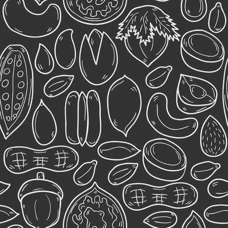 pecan: Sealess background with cartoon hand drawn objects on nuts theme: hazelnut, pumpkin and sunflower seeds, peanut, pecan, pistachio, cashew, walnut, acorn, almond, coconut, cocoa. Raw healthy food concept for your design