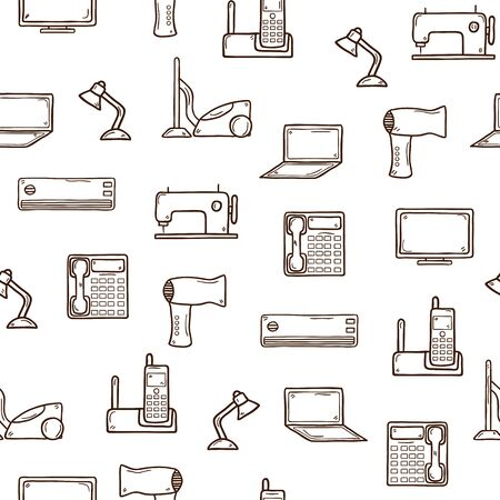 electrical appliance: Fondo incons�til con los objetos de mano dibujadas sobre electrodom�sticos tema: secador de pelo, aspiradora, l�mpara, equipo, monitor, tel�fono, port�til, m�quina de coser, acondicionador, tel�fono. Concepto de la electr�nica C�mara para su dise�o Vectores